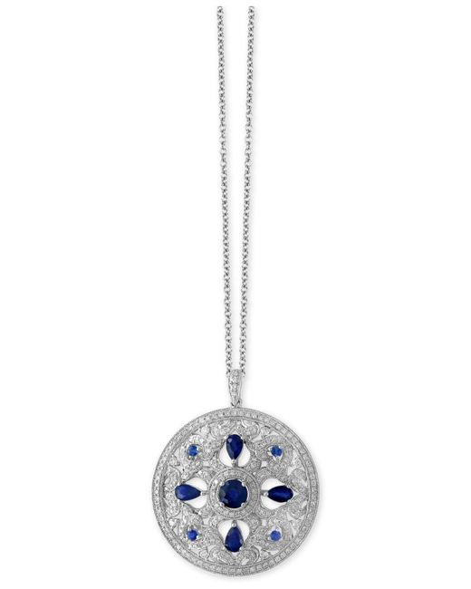 Effy Collection | Metallic Sapphire (1-3/4 Ct. T.w.) And Diamond (9/10 Ct. T.w.) Pendant Necklace In 14k White Gold | Lyst