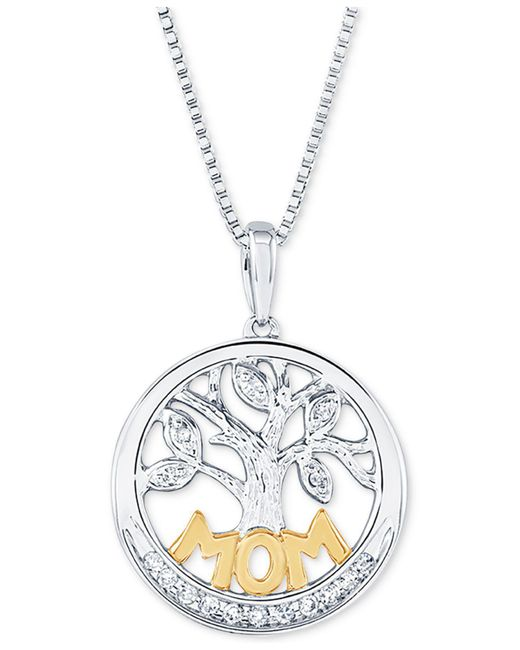 "Macy's - Metallic Diamond Family Tree Mom 18"" Pendant Necklace (1/10 Ct. T.w.) In Sterling Silver And 14k Gold - Lyst"