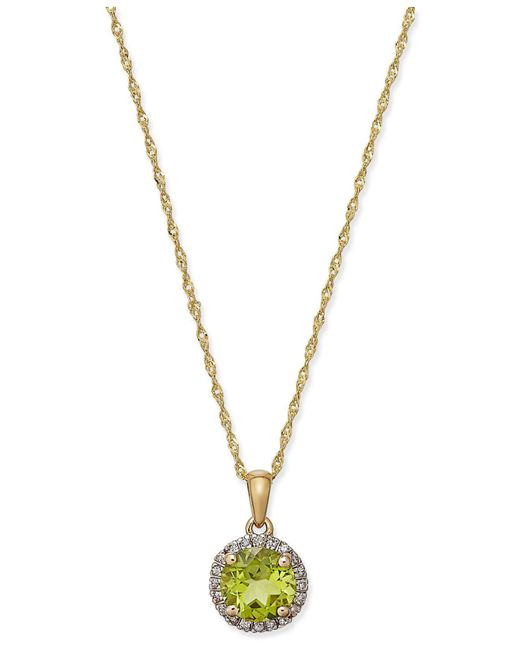 Macy's - Metallic Peridot (1-1/3 Ct. T.w.) And Diamond Accent Pendant Necklace In 14k Gold - Lyst