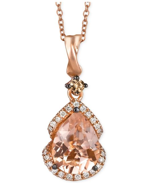 Le Vian | Pink Peach Morganite (1-1/5 Ct. T.w.) And Diamond (1/5 Ct. T.w.) Pendant Necklace In 14k Rose Gold, Only At Macy's | Lyst
