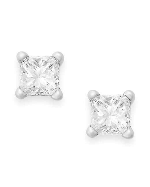 Macy's - Metallic Princess-cut Diamond Stud Earrings In 10k Gold (1/4 Ct. T.w.) - Lyst
