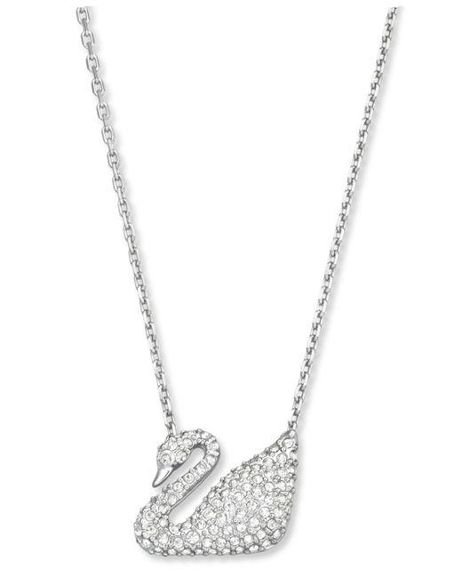 Swarovski - Metallic Gold-tone Crystal Swan Pendant Necklace - Lyst
