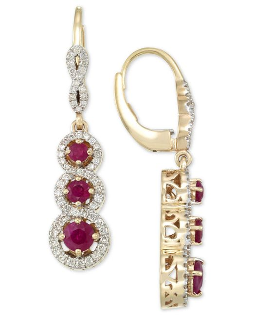 Rare Featuring Gemfields - Metallic Certified Ruby (1-1/10 Ct. T.w.) And Diamond (1/2 Ct. T.w.) Triple Stone Infinity Drop Earrings In 14k Gold - Lyst