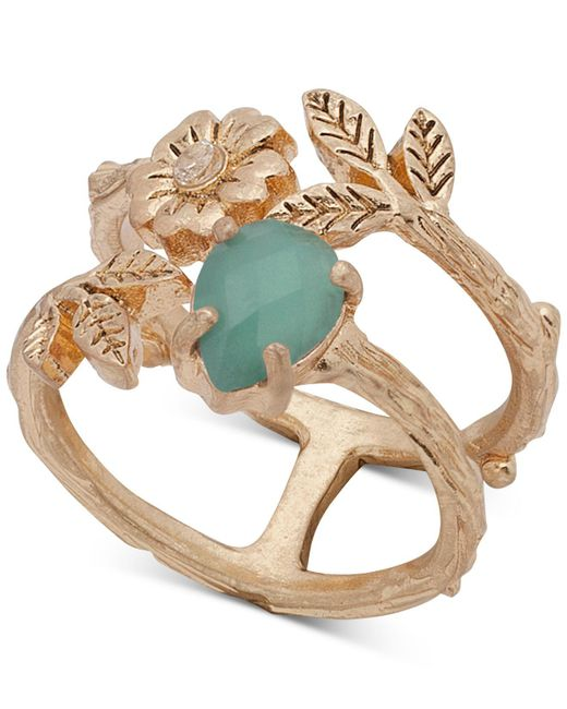 Lonna & Lilly - Green Gold-tone Stone, Flower & Leaf Double-row Ring, Created For Macy's - Lyst