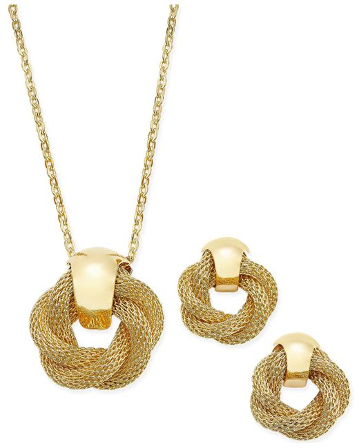 Charter Club   Metallic Gold-tone Twisted Knot Pendant Necklace And Earrings Set   Lyst
