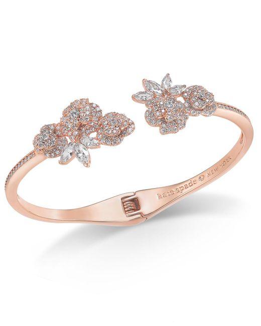 Kate Spade - Pink Crystal Flower Cuff Bracelet - Lyst
