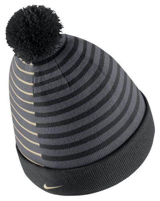 uk availability a814e d4c81 australia nike black purdue boilermakers striped beanie knit hat for men  lyst 9f8a5 fb858