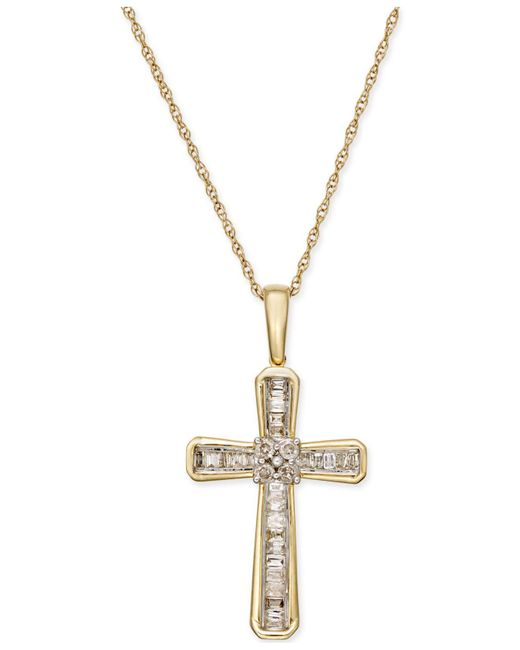Macy's | Green Diamond Cross Pendant Necklace (1/5 Ct. T.w.) In 10k Gold | Lyst