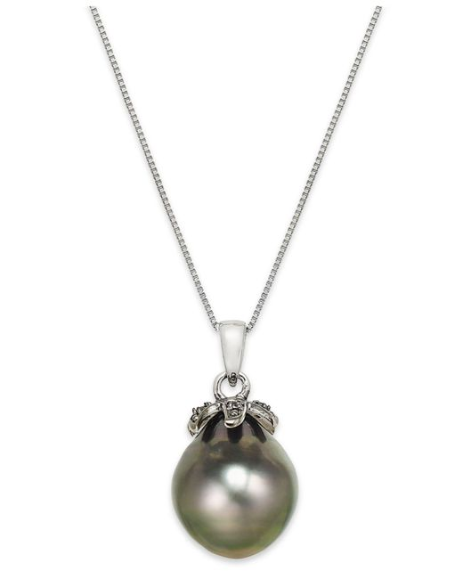 Macy's - Metallic Tahitian Pearl (12mm) And Black Diamond Accent Pendant Necklace In 14k White Gold - Lyst