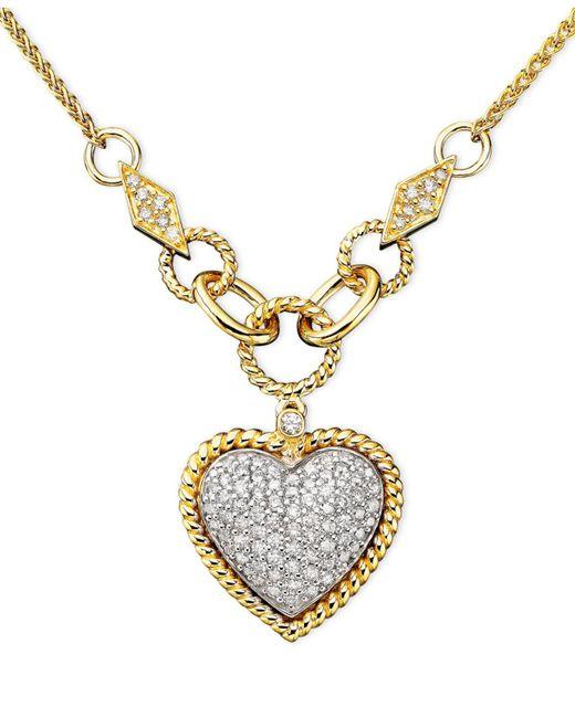 Effy Collection - Metallic Diamond Pavé Diamond Heart Pendant (3/4 Ct. T.w.) In 14k Gold And 14k White Gold - Lyst