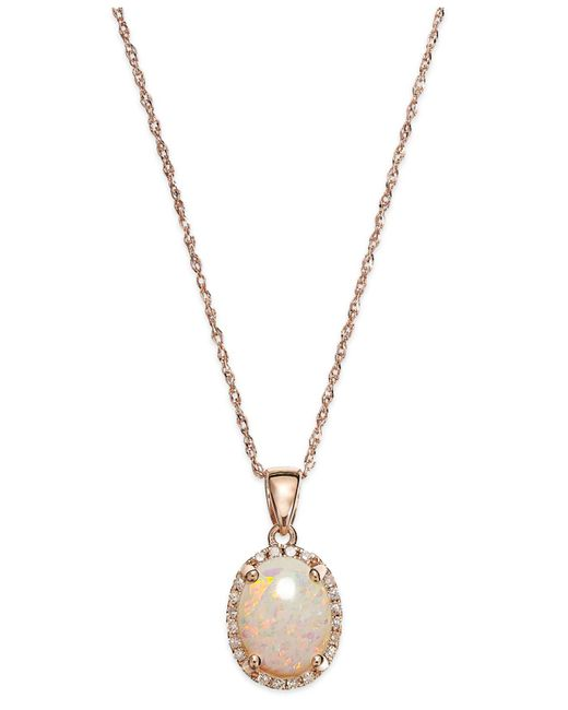 Macy's - Pink Opal (9/10 Ct. T.w.) And Diamond Accent Oval Pendant Necklace In 14k Rose Gold - Lyst