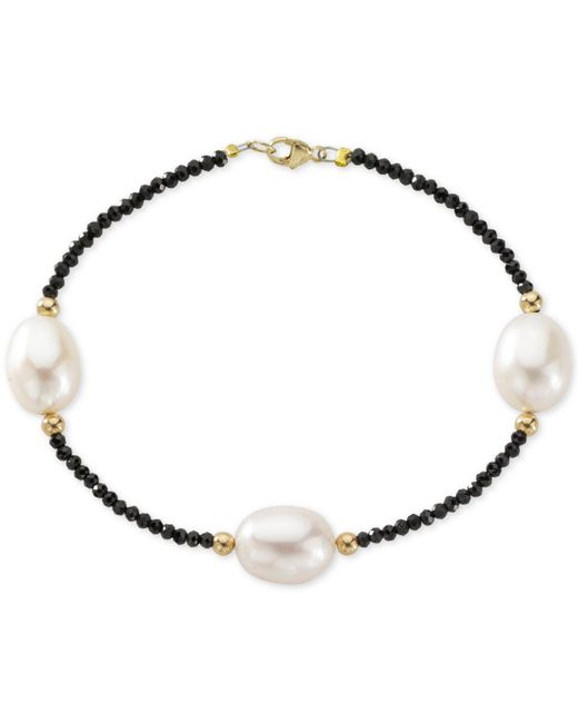 Macy's - Metallic Cultured Freshwater Pearl (10mm) And Black Spinel Bracelet In 14k Gold - Lyst