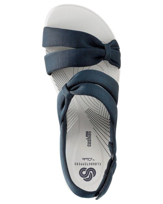 360a50bc66d0 ... Clarks - Blue Cloudsteppers Arla Mae Wedge Sandals - Lyst ...