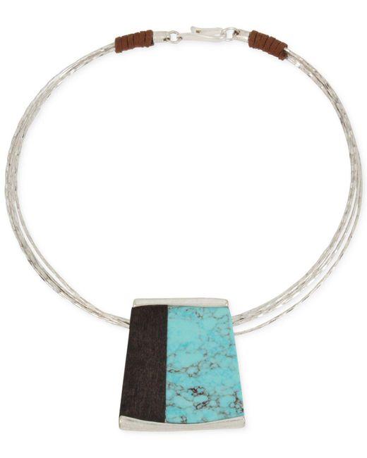 Robert Lee Morris | Metallic Turquoise & Wood Geometric Pendant Wire Collar Necklace | Lyst