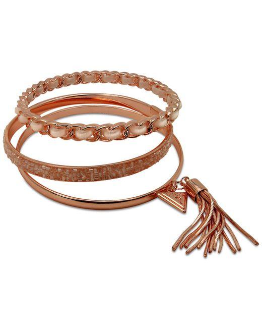 Guess - Metallic Gold-tone 3-pc. Set Black Bead & Faux Suede Bangle Bracelets - Lyst