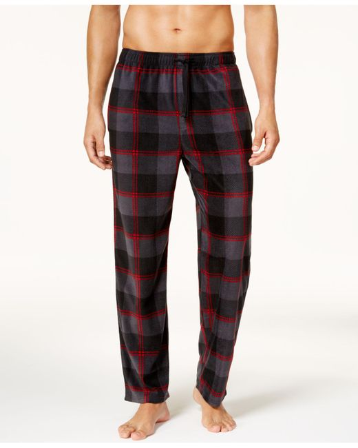 Perry Ellis - Red Men's Buffalo Check Plaid Fleece Pajama Pants for Men - Lyst