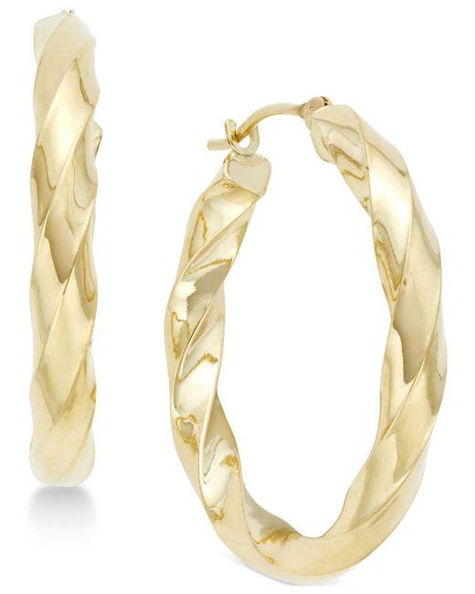 Macy's - Metallic Square Twist Hoop Earrings In 10k Gold - Lyst