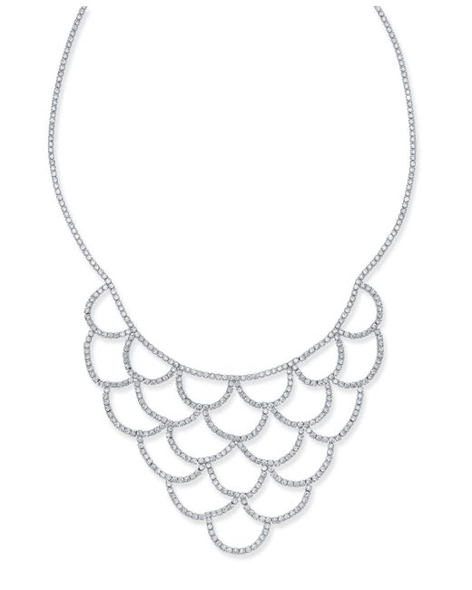INC International Concepts - Metallic Silver-tone Crystal Scalloped Statement Necklace - Lyst