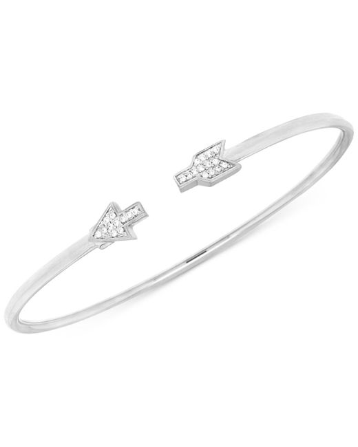 Macy's - Metallic Diamond Arrow Flexie Bangle Bracelet (1/6 Ct. T.w.) In Sterling Silver - Lyst