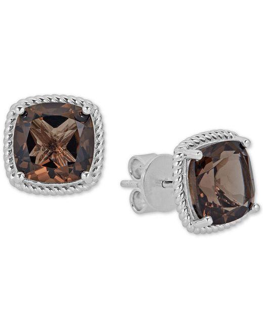 Macy's - Metallic Quartz Rope Frame Stud Earrings (8 Ct. T.w.) In Sterling Silver - Lyst