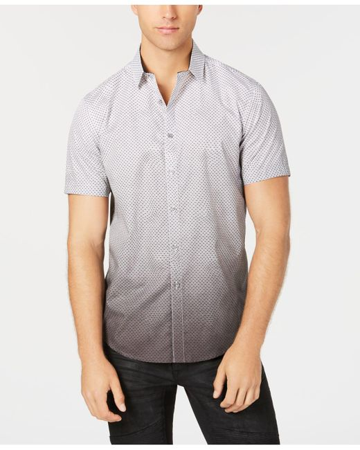 INC International Concepts - Gray Dip-dyed Net Pattern Shirt, Created For Macy's for Men - Lyst