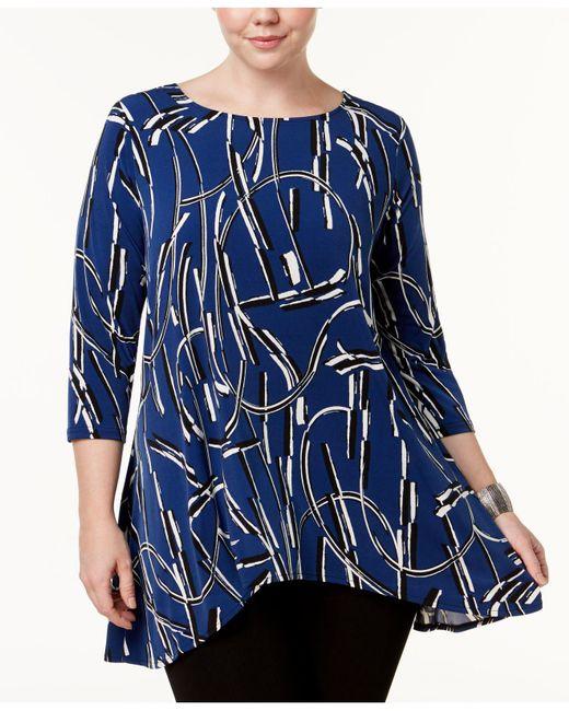 Alfani | Blue Plus Size Printed Trapeze Tunic | Lyst