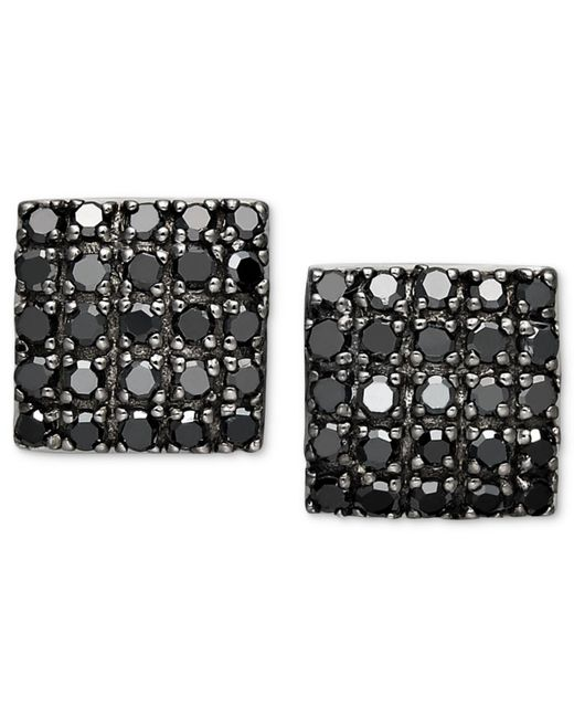 Macy's - Metallic Black Diamond Square Cluster Stud Earrings In Sterling Silver (1/2 Ct. T.w.) - Lyst