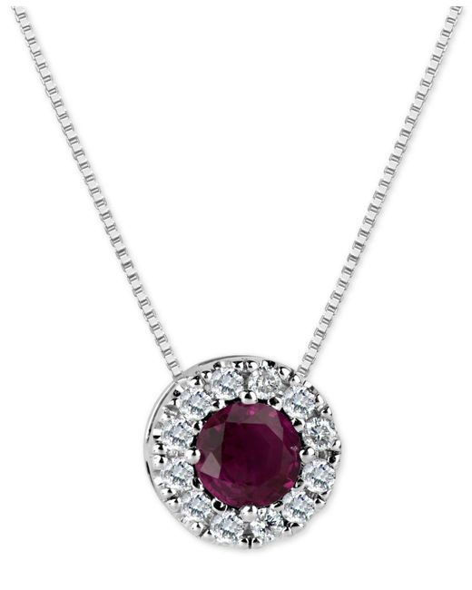 Macy's - Multicolor Ruby (3/5 Ct. T.w.) And Diamond (1/5 Ct. T.w.) Halo Pendant Necklace In 14k White Gold - Lyst