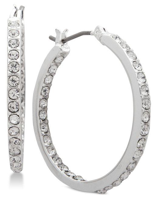 Nine West - Metallic Crystal In & Out Hoop Earrings - Lyst