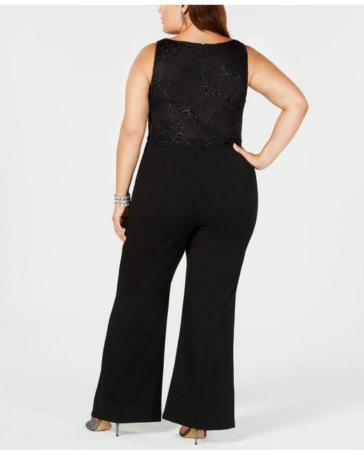8c16d4cae94 ... Adrianna Papell - Black Plus Size Metallic Lace Jumpsuit - Lyst ...