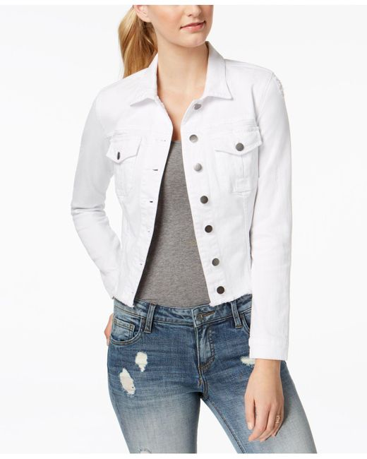 Kut From The Kloth - White Petite Kara Frayed-hem Denim Jacket - Lyst