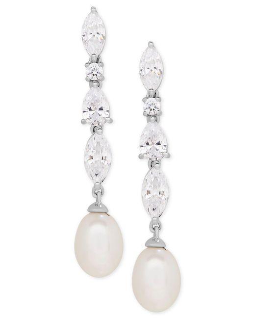 Arabella - Metallic Cultured Freshwater Pearl (7 X 9mm) And Swarovksi Zirconia Drop Earrings In Sterling Silver - Lyst