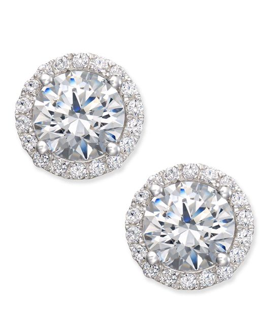 Arabella - Metallic Swarovski Zirconia Halo Stud Earrings In Sterling Silver - Lyst