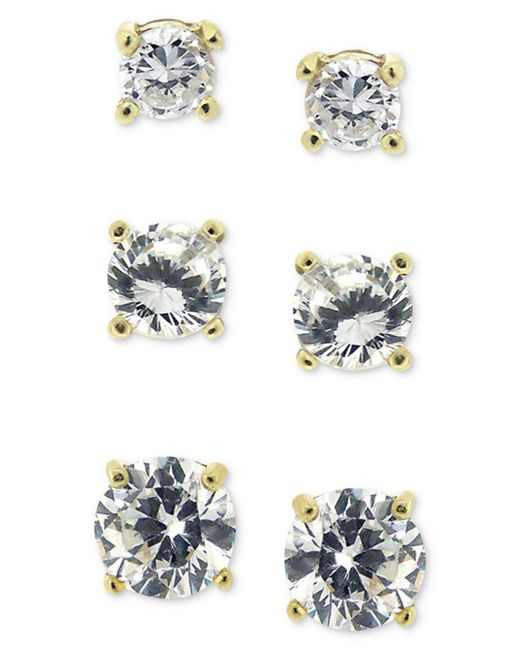Giani Bernini - Metallic 18k Gold Over Sterling Silver Earring Set, Cubic Zirconia Round Trio Stud Set (1-3/4 Ct. T.w.) - Lyst