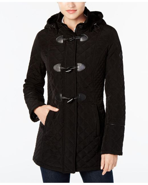 Laundry by Shelli Segal | Black Quilted Toggle Coat | Lyst