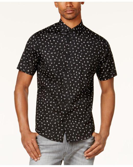 Sean John | Black Men's Partial Letters Shirt for Men | Lyst