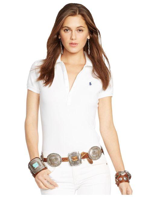 Polo Ralph Lauren   White Skinny Stretch Polo Shirt   Lyst