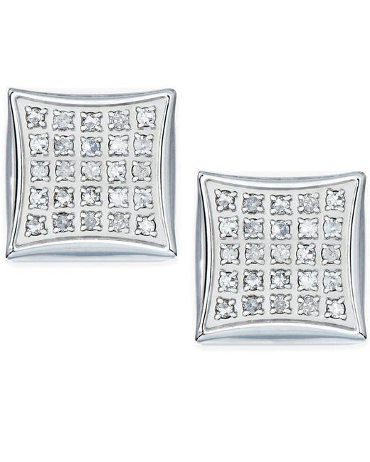 Macy's | White Men's Diamond Stud Earrings In Stainless Steel (1/4 Ct. T.w.) | Lyst
