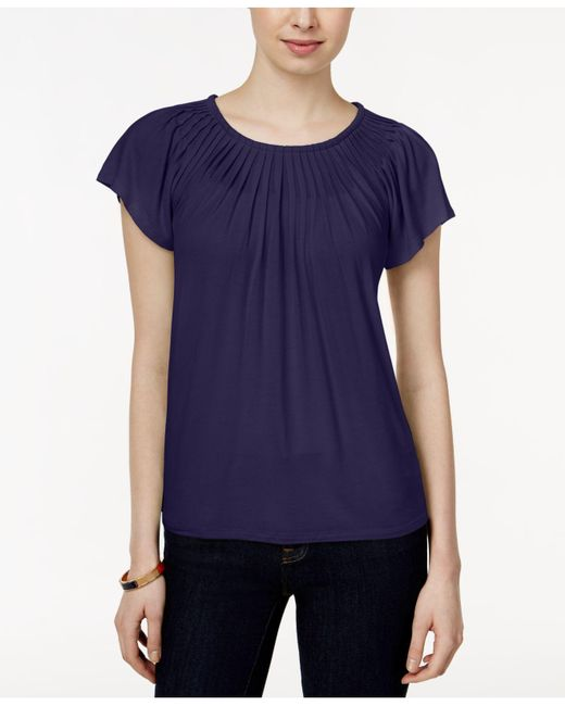 Style & Co. | Blue . Pleated-neck Top, Only At Macy's | Lyst