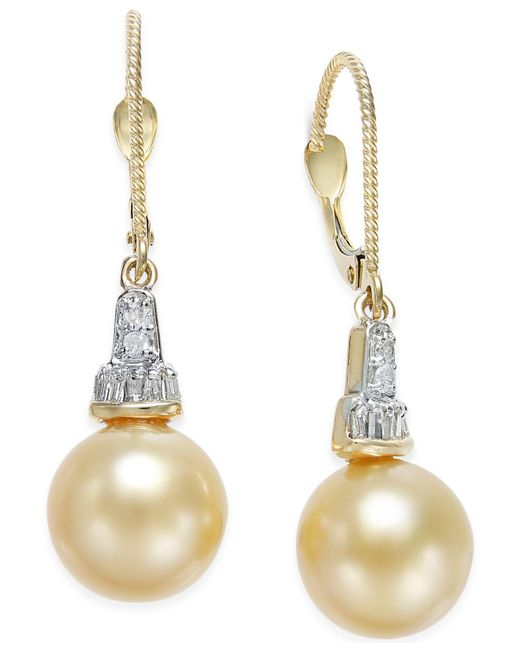 Macy's - Metallic Cultured Golden South Sea Pearl (10mm) And Diamond (1/4 Ct. T.w.) Drop Earrings In 14k Gold - Lyst