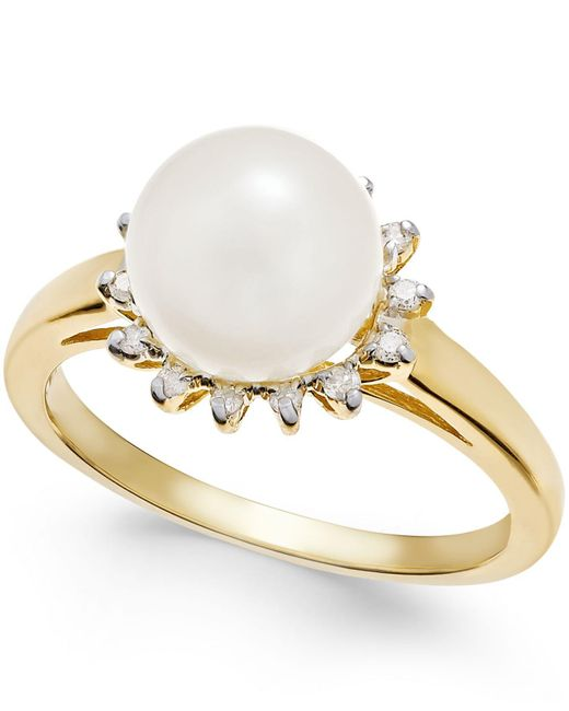 Macy's | White Cultured Freshwater Pearl (8mm) And Diamond (1/10 Ct. T.w.) Ring In 14k Gold | Lyst