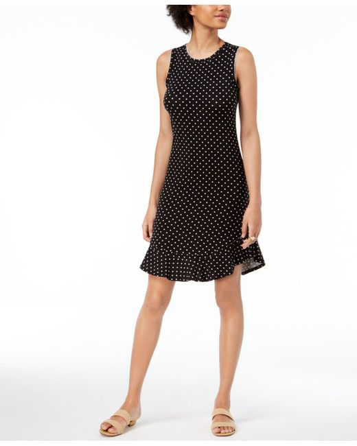 Maison Jules - Black Dot-print A-line Dress, Created For Macy's - Lyst