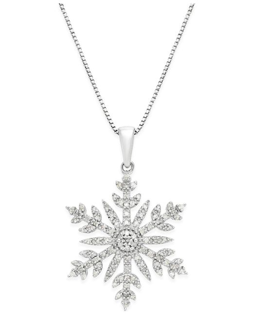 Macy's - Metallic Diamond (1/3 Ct. T.w.) Snowflake Adjustable Pendant Necklace In Sterling Silver - Lyst