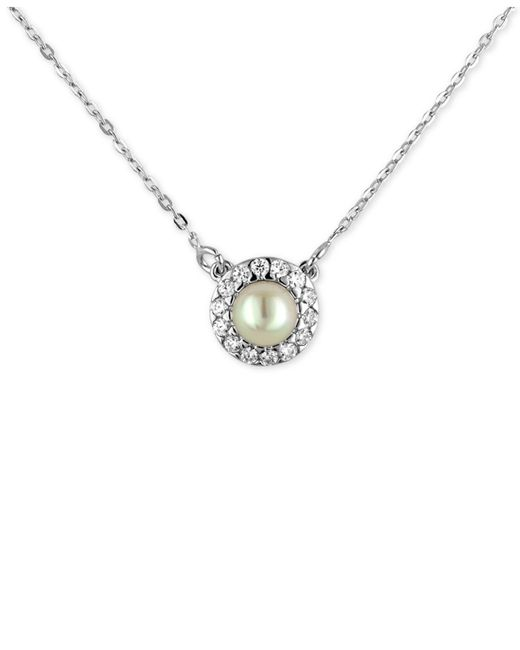 Majorica | Metallic Sterling Silver Imitation Pearl (6mm) And Cubic Zirconia Halo Pendant Necklace | Lyst