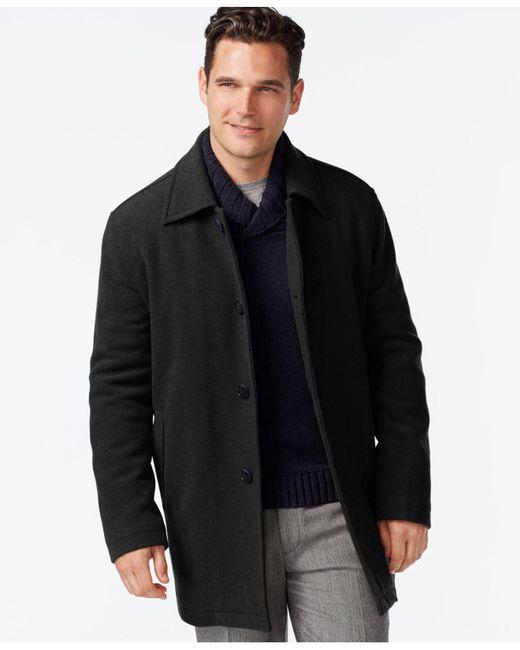 Cole Haan - Black Wool-blend Coat for Men - Lyst