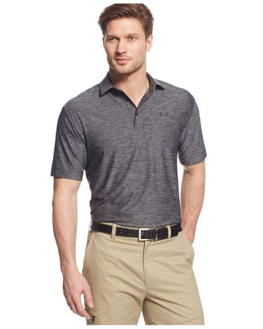 Under Armour - Black Playoff Striped Performance Polo for Men - Lyst