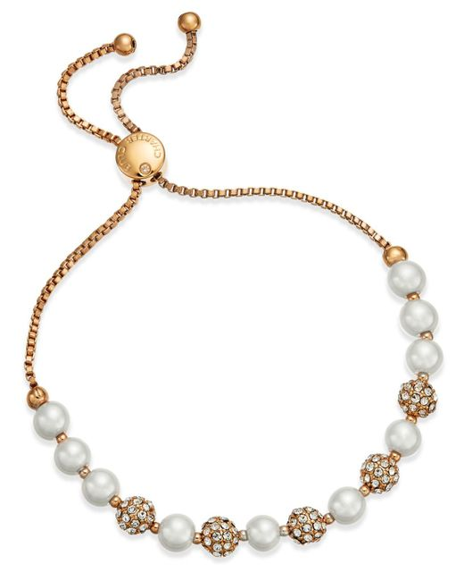 Charter Club   Metallic Pavé & Imitation Pearl Slider Bracelet   Lyst