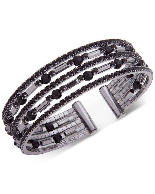 Anne Klein | Metallic Hematite-tone Jet Crystal Multi-row Cuff Bracelet | Lyst
