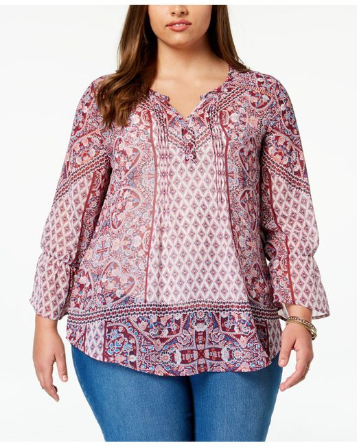 Style & Co. - Red Plus Size Mixed-print Peasant Top, Created For Macy's - Lyst