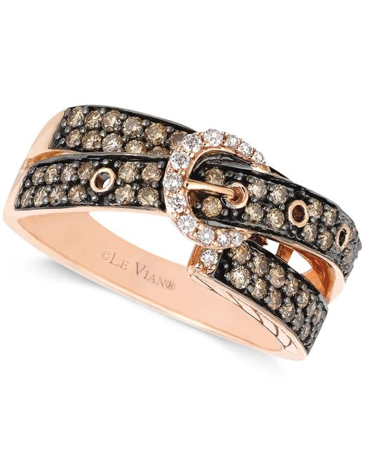 Le Vian - Pink Chocolate (5/8 Ct. T.w.) And White Diamond (1/10 Ct. T.w.) 2-row Buckle Ring In 14k Rose Gold - Lyst
